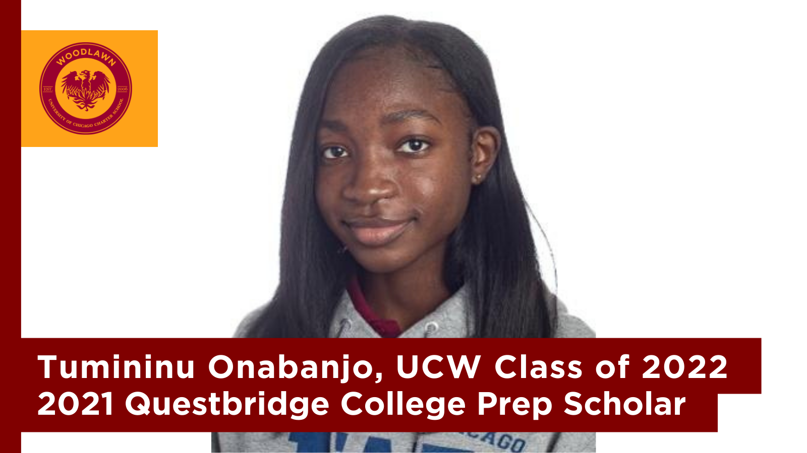 Headshot of Tumininu Onabanjo, a young Black woman with shoulder length hair and wearing a UCW polo and hoodie.