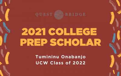 UCW Junior Tumininu Onabanjo Selected as 2021 QuestBridge College Prep Scholar
