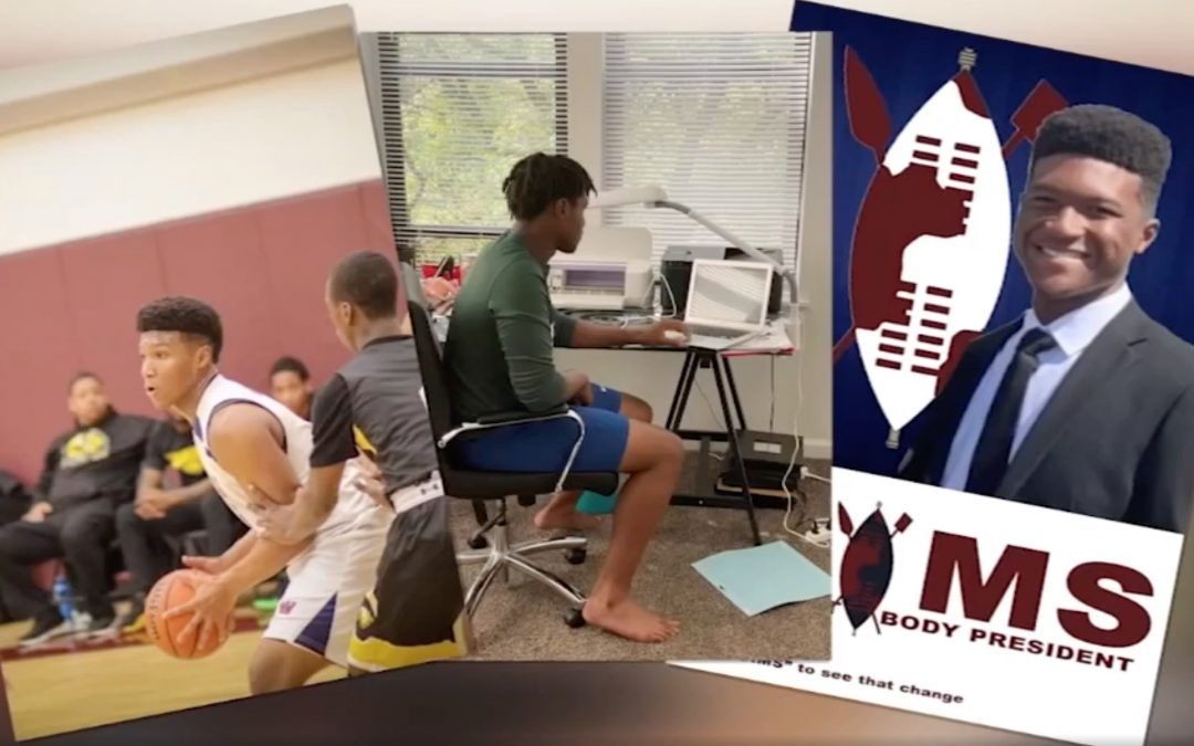 Three images of Julien Sims side-by-side: The first is him on the basketball court, the second is him in his bedroom engaging in remote learning, and the third is his campaign poster for study body president
