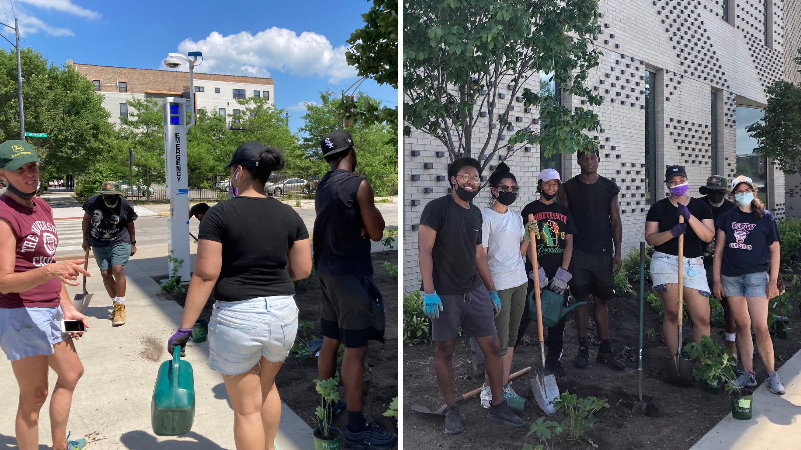 The left side of the image shows a staff member from UChicago Landscape Services advising others on planting during the planting day, and the right shows interns and UChicago Charter staff with shovels in front of the UCW building garden